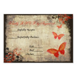 Red Vintage Butterfly Wedding RSVP Card Custom Announcements