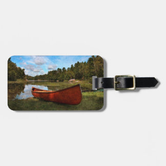 Red vintage canoe luggage tag