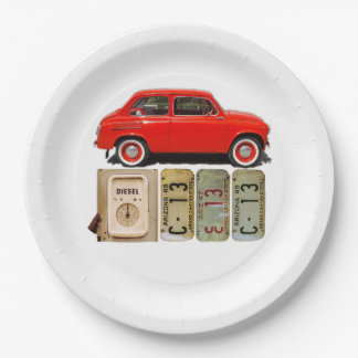 Red Vintage Car Paper Plate