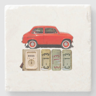 Red Vintage Car Stone Coaster
