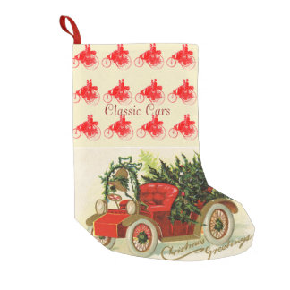 RED VINTAGE CAR WITH CHRISTMAS TREES AND BELL SMALL CHRISTMAS STOCKING