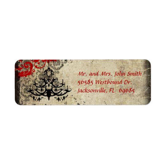 Red Vintage Chandelier Return Address Label