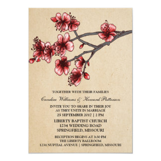 Red Vintage Cherry Blossoms Wedding Invite