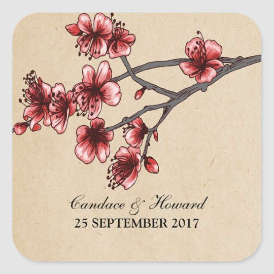 Red Vintage Cherry Blossoms Wedding Stickers