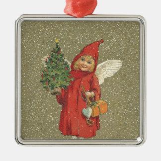 Red Vintage Christmas Angel Tree Christmas Ornament