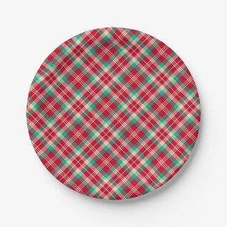 Red Vintage Christmas Plaid Paper Plates 7 Inch Paper Plate
