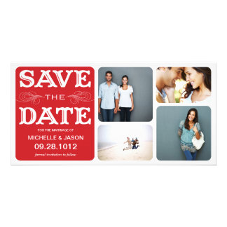 RED VINTAGE COLLAGE | SAVE THE DATE ANNOUNCEMENT PHOTO CARD