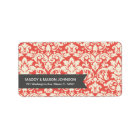 RED VINTAGE DAMASK | ADDRESS LABELS