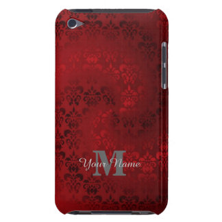 Red vintage damask monogram pattern iPod touch case