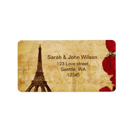 red vintage eiffel tower Paris address labels