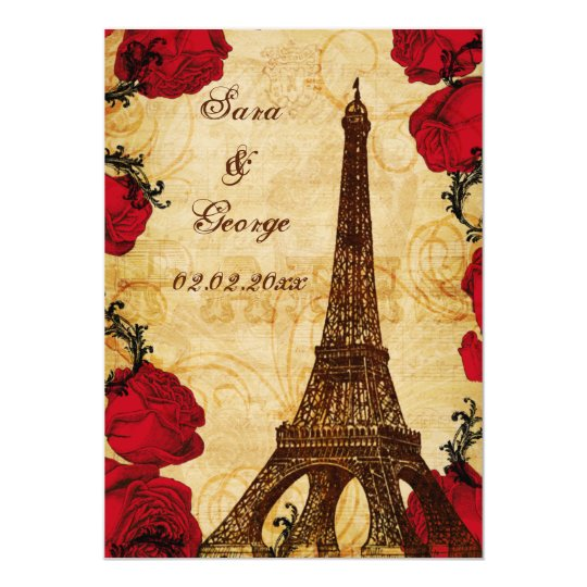 red vintage eiffel tower Paris save the date