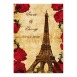 red vintage eiffel tower Paris save the date Cards