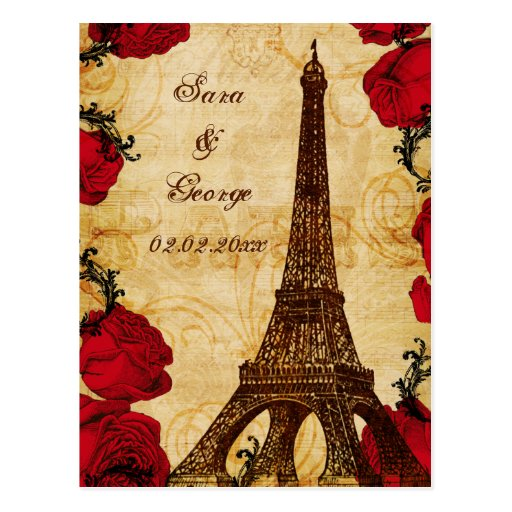 red vintage eiffel tower Paris save the date Postcard