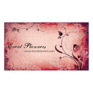 Red Vintage Event Planner Leafy Business Card