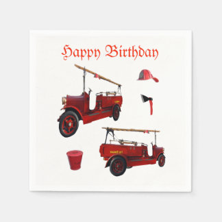 Red Vintage Fire Equipment And Birthday Logo, Disposable Serviettes