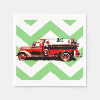 Red Vintage Fire Truck Disposable Serviettes