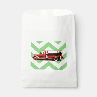 Red Vintage Fire Truck Favour Bags