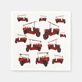 Red Vintage Fire Truck Pattern, Disposable Napkin