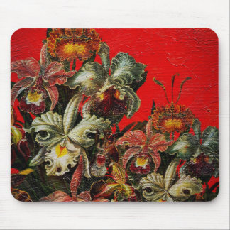 Red Vintage Flowers Oil Brush Painting Mouse Pad