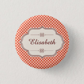 Red vintage gingham calligraphy name 3 cm round badge
