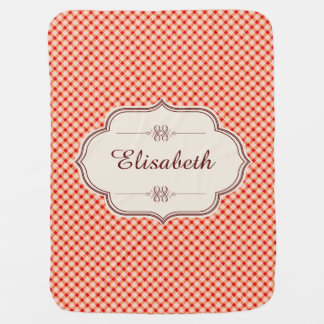 Red vintage gingham calligraphy name baby pram blankets