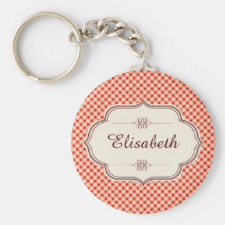 Red vintage gingham calligraphy name basic round button key ring