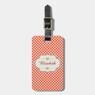 Red vintage gingham calligraphy name luggage tag