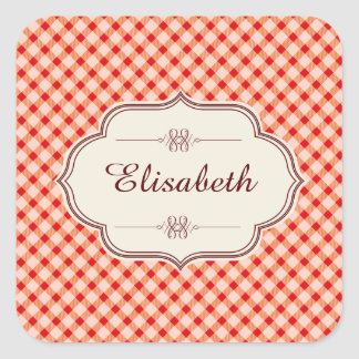 Red vintage gingham calligraphy name square sticker