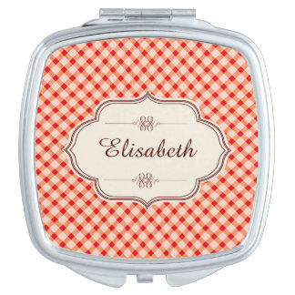 Red vintage gingham calligraphy name travel mirrors
