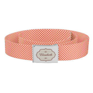 Red vintage gingham calligraphy name woman's belt