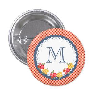 Red vintage gingham flower monogram 3 cm round badge