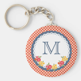 Red vintage gingham flower monogram basic round button key ring