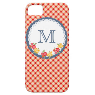 Red vintage gingham flower monogram iPhone 5 cases