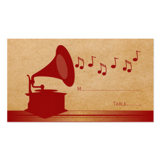 Red Vintage Gramophone Place Card Pack Of Standard Business Cards