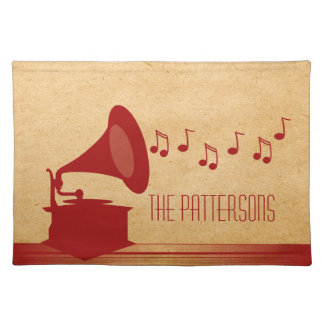 Red Vintage Gramophone Placemat