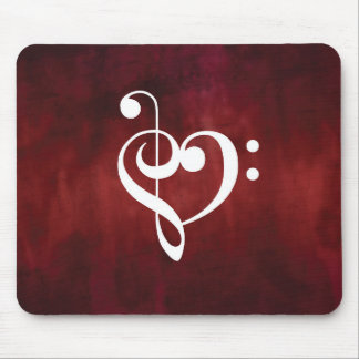 Red Vintage Grunge Treble & Bass Clef Heart Mouse Mat