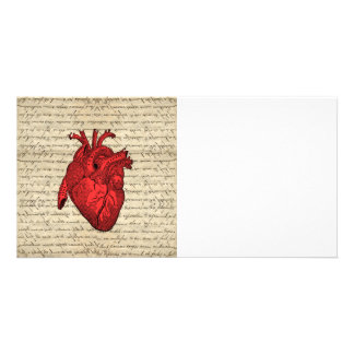 Red vintage heart personalized photo card
