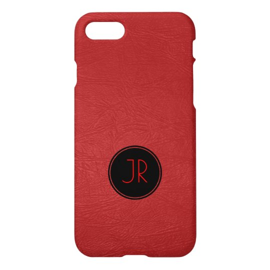 Red Vintage Leather Texture Print iPhone 7 Case