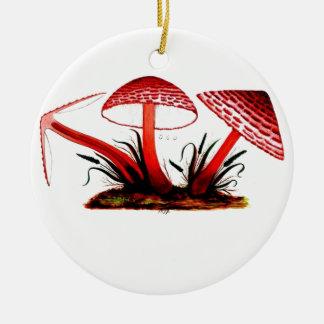 Red Vintage Mushroom Round Ceramic Decoration
