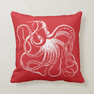 Red Vintage Octopus & Nautical Stripes Cushion