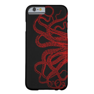Red Vintage Octopus Tentacles Illustration Barely There iPhone 6 Case