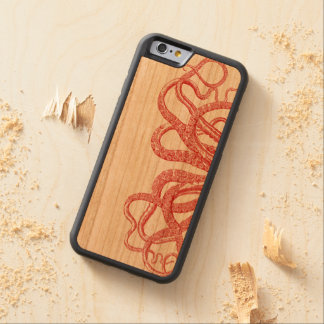 Red Vintage Octopus Tentacles Illustration Carved Cherry iPhone 6 Bumper Case
