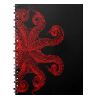 Red Vintage Octopus Tentacles Illustration Spiral Notebook