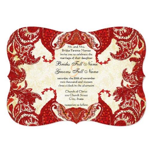 Red Vintage Paisley Damask Wedding Custom Invite
