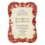 Red Vintage Paisley Damask Wedding Personalised Announcements
