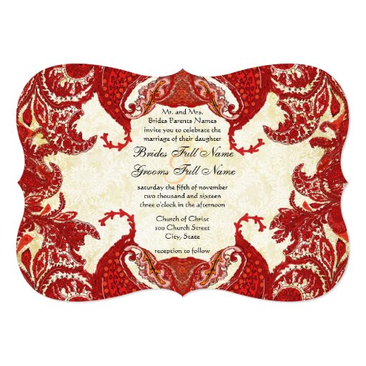 Red Vintage Paisley Damask Wedding 13 Cm X 18 Cm Invitation Card