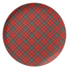 Red Vintage Plaid Pattern Plate