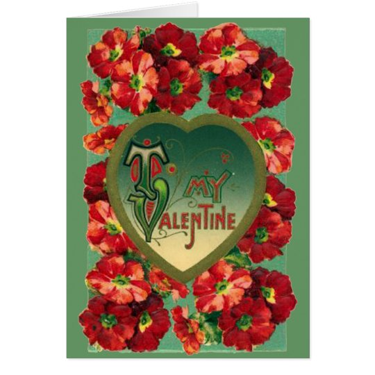 Red Vintage Poppies Valentine Card