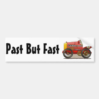 Red Vintage Race Car Past But Fast Bumper Sticker Car Bumper Sticker