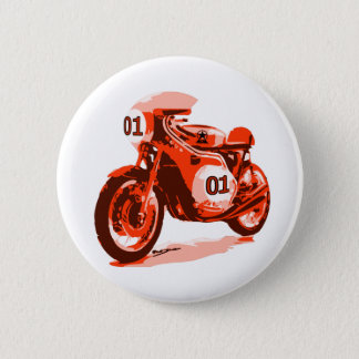 Red Vintage Racing Motorcycle 6 Cm Round Badge